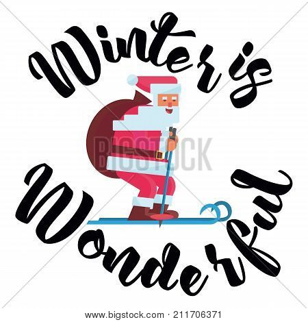 Winter Wonderful Winter time. Wonderful winter morning of Christmas. Vector illustration