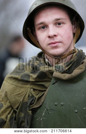 Belarus, Gomel, November 21, 2016, Reconstruction Of The Battle For World War Ii. Children Are The S