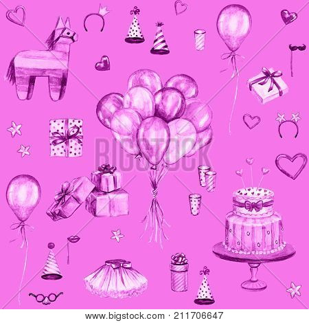 Watercolor Happy Birthday pink seamless pattern. Hand drawn celebration objects: gift boxes air balloons Birthday cake pinata
