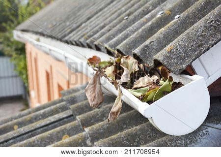 Roof gutter with fallen leaves in autumn. Rain gutter cleaning.