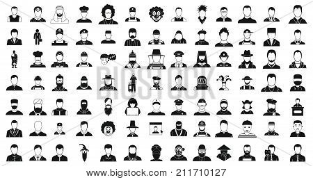 Man silhouette icon set. Simple set of man silhouette vector icons for web design isolated on white background