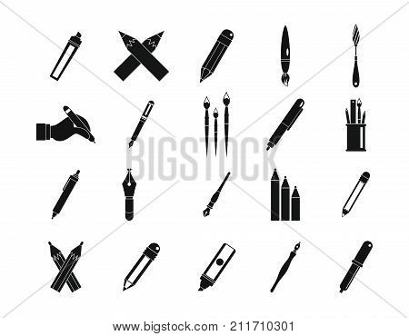 Pen, pencil icon set. Simple set of pen, pencil vector icons for web design isolated on white background