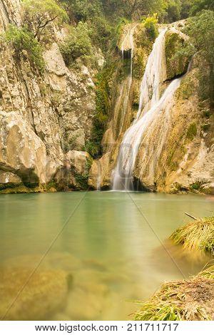 Kadi waterfall in Polilimnio in peloponnese in Greece.