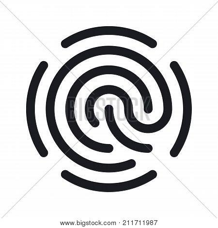 Simple fingerprint icon isolated on white background. Easy editable vector illustration