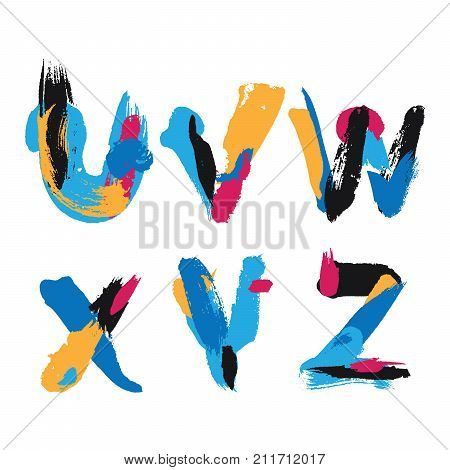 Hand drawn with ink brush strokes alphabet letters U V W X Y and Z. Bright watercolor blobs and imprints in vivid typography design.