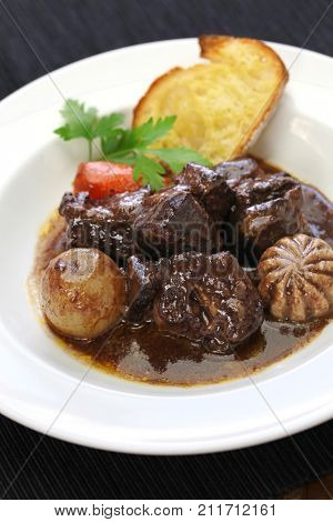 boeuf bourguignon, beef stewed in red wine, french burgundy cuisine