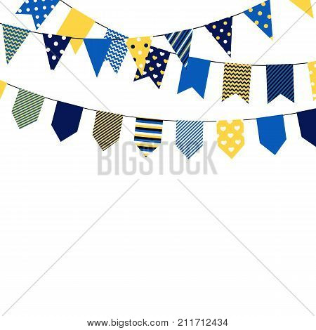 Set of bounting flags. Decorative elements on white background. Collection for birthday greeting cards and scrapbooking. Vector illustration.