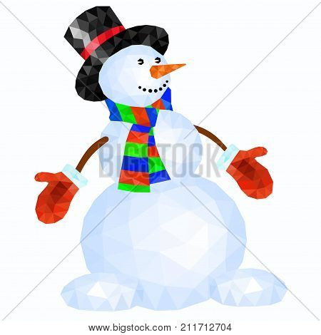 Polygonal snowman in red mittens and striped scarf on white background - vector