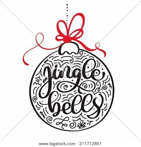 Jingle bells calligraphic hand drawn lettering. Christmas and New Year background with red bow and bell. Design element for seasonal posters and greeting cards.