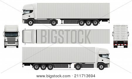 Vector truck with container template for advertising corporate identity. White semi-trailer truck illustration. Vehicle branding mockup. Layers and groups well organized for easy editing and recolor.