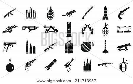 Weapons ammunition icon set. Simple set of weapons ammunition vector icons for web design isolated on white background