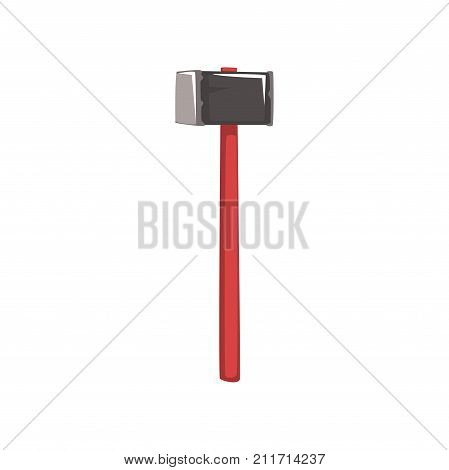 Large sledgehammer with red handle for coal mining. Cartoon miner working tool for extracting coal from the ground. Mining and quarrying industry. Vector illustration in flat style isolated on white.