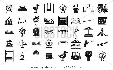 Kid amusement icon set. Simple set of kid amusement vector icons for web design isolated on white background