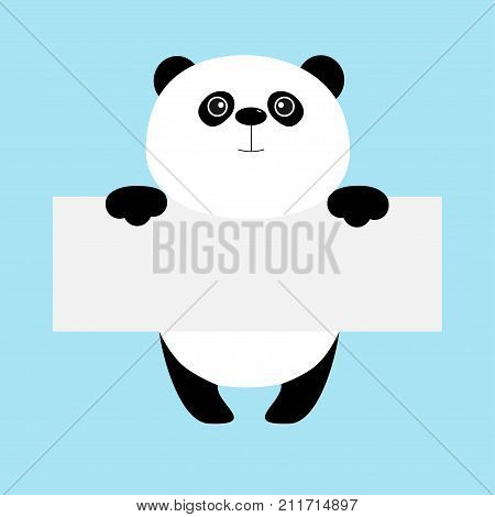 Funny panda bear hanging on paper board template. Kawaii animal body. Cute cartoon character. Baby card. Flat design style. Blue background Isolated. Vector illustration