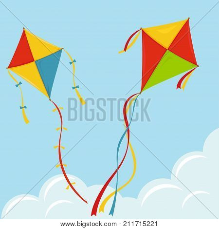 Fly Kite in Sky, color kites above the cloud, Summer wing festival fun. Vector
