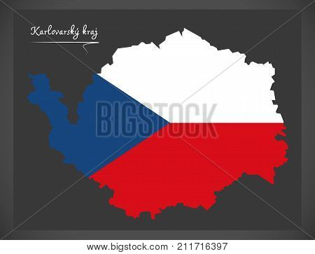Karlovarsky Kraj Map Of The Czech Republic With National Flag Illustration