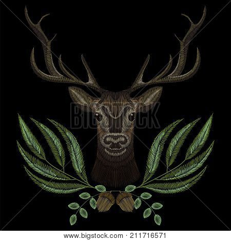 Forest deer face with geen wreath, embroidery for fashion design wearing. Embroidered patch
