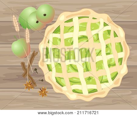 an illustration of a fresh home baked apple pie with ingredients on a wooden background
