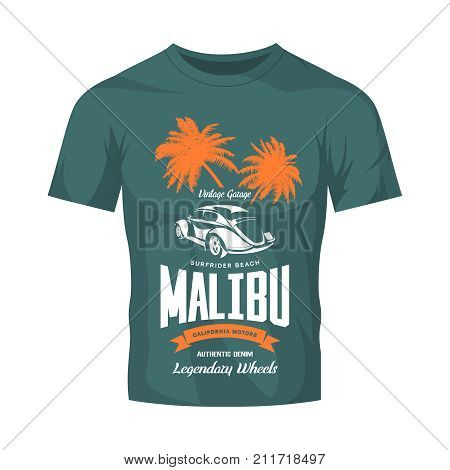 Vintage luxury vehicle vector logo isolated on dark t-shirt mock up. Premium quality classic car logotype tee-shirt emblem illustration. Malibu, California street wear superior retro tee print design.