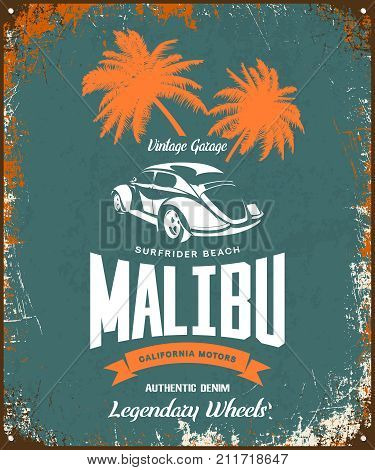 Vintage luxury vehicle vector logo isolated on dark background. Premium quality classic car logotype tee-shirt emblem illustration. Malibu, California street wear superior retro tee print design.