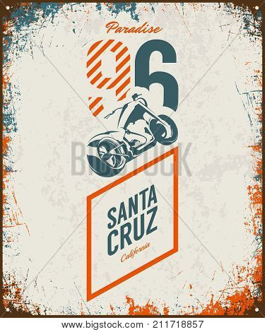 Vintage motorcycle vector logo isolated on light background. Premium quality biker gang logotype tee-shirt emblem illustration. Santa Cruz, California street wear superior retro tee print design.