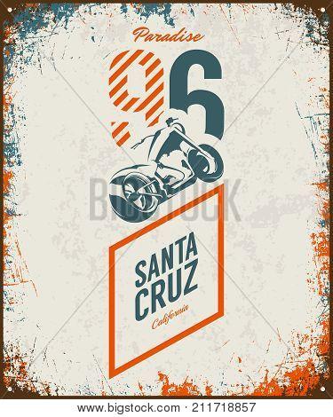 Vintage motorcycle vector logo isolated on light background. Premium quality biker gang logotype tee-shirt emblem illustration. Santa Cruz, California street wear superior retro tee print design. poster