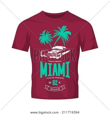Vintage luxury vehicle vector logo isolated on burgundy t-shirt mock up. Premium quality classic car logotype tee-shirt emblem illustration. Miami, Florida street wear superior retro tee print design.