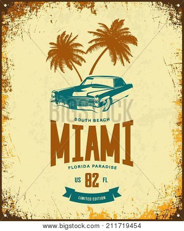 Vintage luxury vehicle vector logo isolated on light background. Premium quality classic car logotype tee-shirt emblem illustration. Miami, Florida street wear superior retro tee print design.