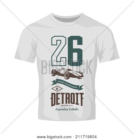 Vintage sport vehicle vector logo isolated on white t-shirt mock up. Premium quality number logotype tee-shirt emblem illustration. Detroit, Michigan street wear superior retro tee print design.