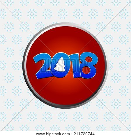 Twenty Eighteenth New Years decorated date with Abstract Christmas Tree Metallic Red Border Over White Background with Snowflakes