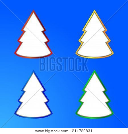 Collection of Four Abstract Christmas Tree Over Blue Background