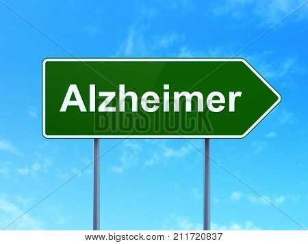 Health concept: Alzheimer on green road highway sign, clear blue sky background, 3D rendering