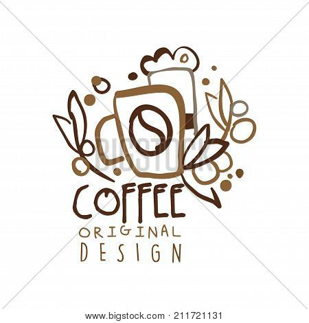 Coffee shop logo template in original hand drawn design. Business or company label for menu cover, print, card, brand identity. Coffee to go badge with lettering and paper cup. Doodle vector on white.