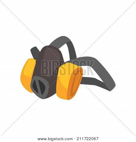 Cartoon miner's protective dust mask. Gray and yellow breathing mask for miner or builder. Filters polluted air. Vector illustration in flat style isolated on white background.