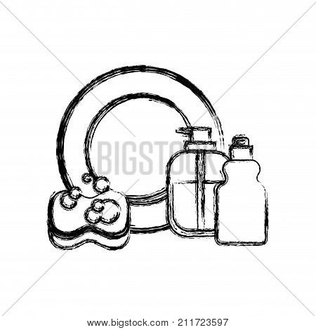 dish and sponge and dishwasher soap in monochrome blurred silhouette vector illustration