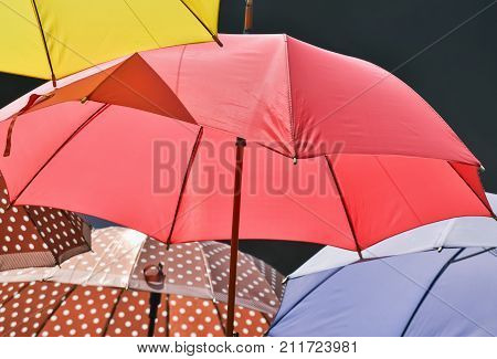 Closeup of one red umbrella as a symbol of sexual workers
