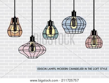 Loft iron cage pendant lights with Edison bulb. Modern lamp for loft interior livingroom, kitchen, office.  Industrial hanging pendant lamp on a brick wall background. Wrought Iron Frame Ceiling Light