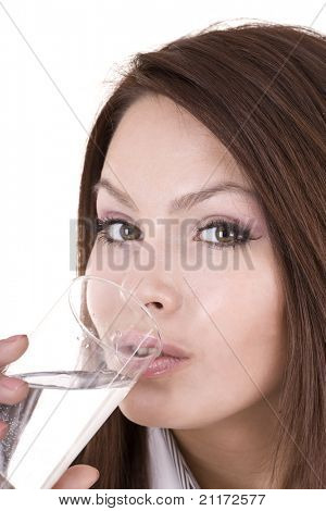 Woman with glass of water. Isolated.
