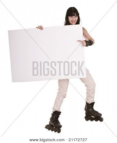 Girl on sport rollers with  banner. Isolated.