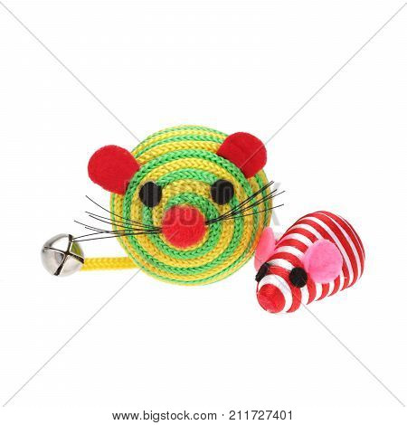 Colourful toy mice for cats on white background