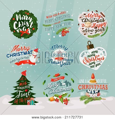 Set of isolated new year banner and merry christmas eve signs with snow. Xmas holiday card badges with fir-tree. Wrapper insignia for present of gift box. Festive and winter holiday, celebration theme