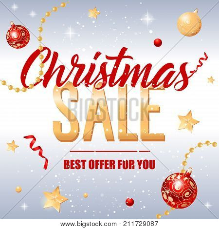 Christmas sale best vector photo free trial bigstock christmas sale best offer for you lettering christmas greeting card with fir tree twigs in m4hsunfo