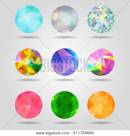 set of abstract colorful geometric spherical shapes from triangular faces for graphic design