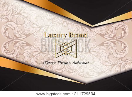 Luxury card with damask ornaments Vector. Beautiful illustration for brand book, business card or poster. Pink background. Place for text