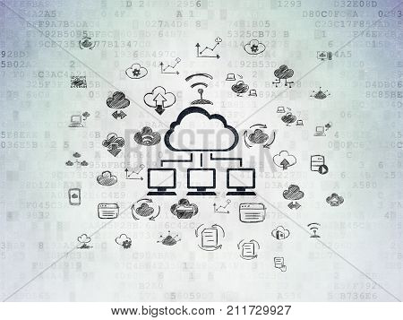 Cloud computing concept: Painted black Cloud Network icon on Digital Data Paper background with  Hand Drawn Cloud Technology Icons