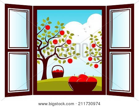 vector bowl of apples in the window and apple trees outside the window