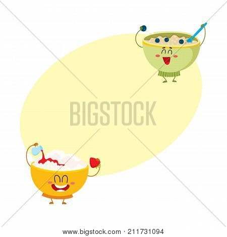 Two funny bowl characters - cottage cheese and oatmeal porridge, breakfast options, cartoon vector illustration with space for text. Cute and funny cottage cheese and oatmeal bowl characters