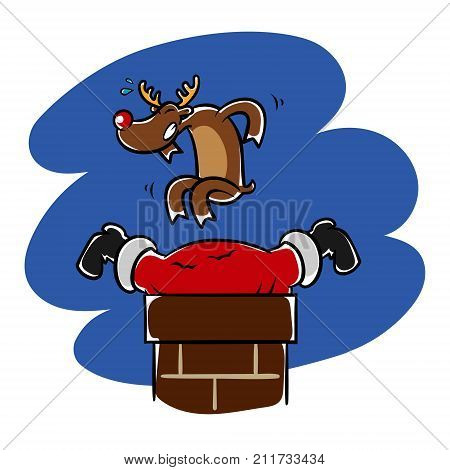 Reindeer helps Santa who stuck in the chimney funny Christmas illustration