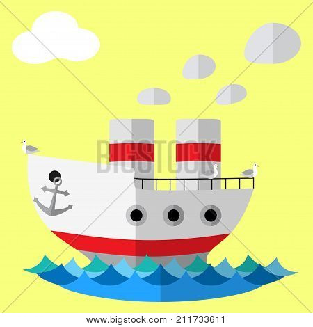 Retro steam ship flat vector poster. Travel concept illustration with steamship, seagull bird, sea ocean pond water for gift card, flyer, certificate or banner.