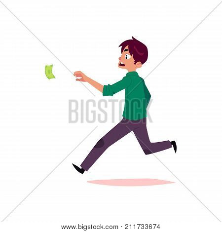 vector flat cartoon man running for money. Male Clerk, office worker in casual clothing chasing, trying to catch for dollar note. Isolated illustration on a white background.